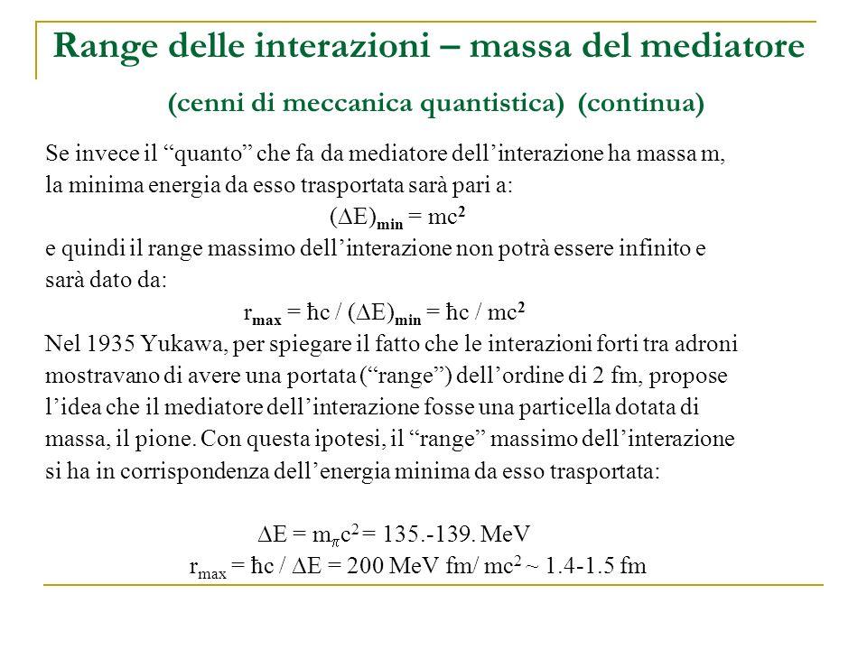 Range delle interazioni – massa del mediatore (cenni di meccanica quantistica) (continua)
