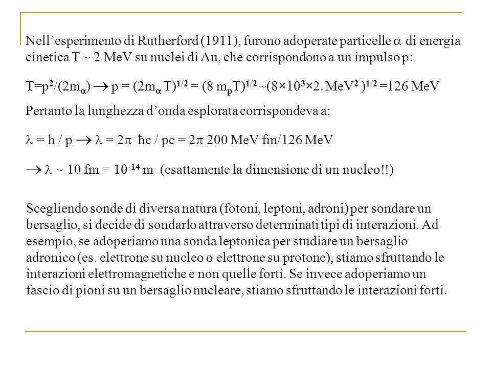  l ~ 10 fm = 10-14 m (esattamente la dimensione di un nucleo!!)