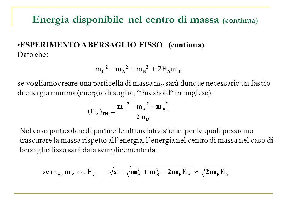 Energia disponibile nel centro di massa (continua)