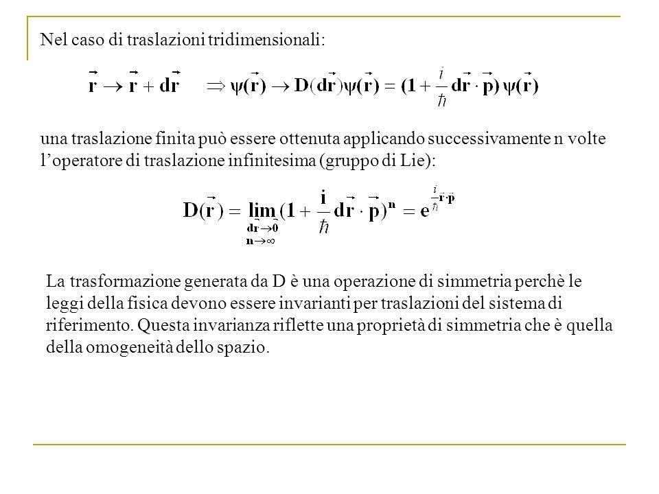 Nel caso di traslazioni tridimensionali: