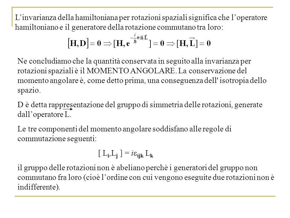 L'invarianza della hamiltoniana per rotazioni spaziali significa che l'operatore hamiltoniano e il generatore della rotazione commutano tra loro: