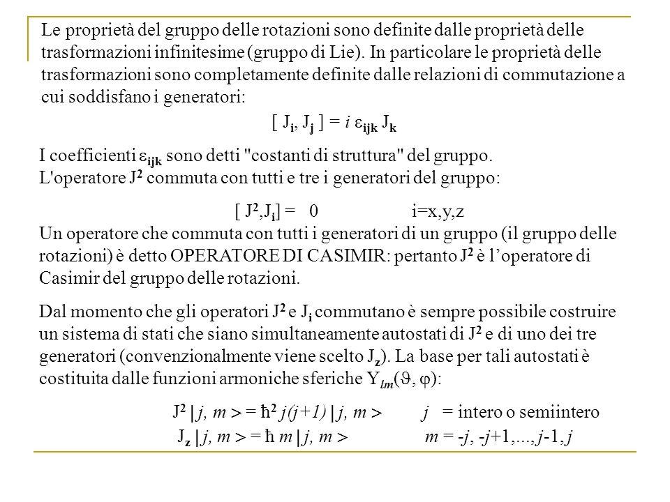 Le proprietà del gruppo delle rotazioni sono definite dalle proprietà delle trasformazioni infinitesime (gruppo di Lie). In particolare le proprietà delle trasformazioni sono completamente definite dalle relazioni di commutazione a cui soddisfano i generatori: