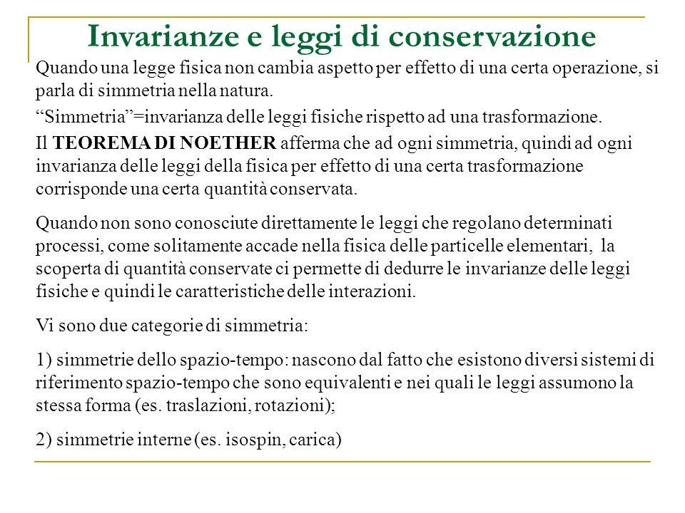 Invarianze e leggi di conservazione