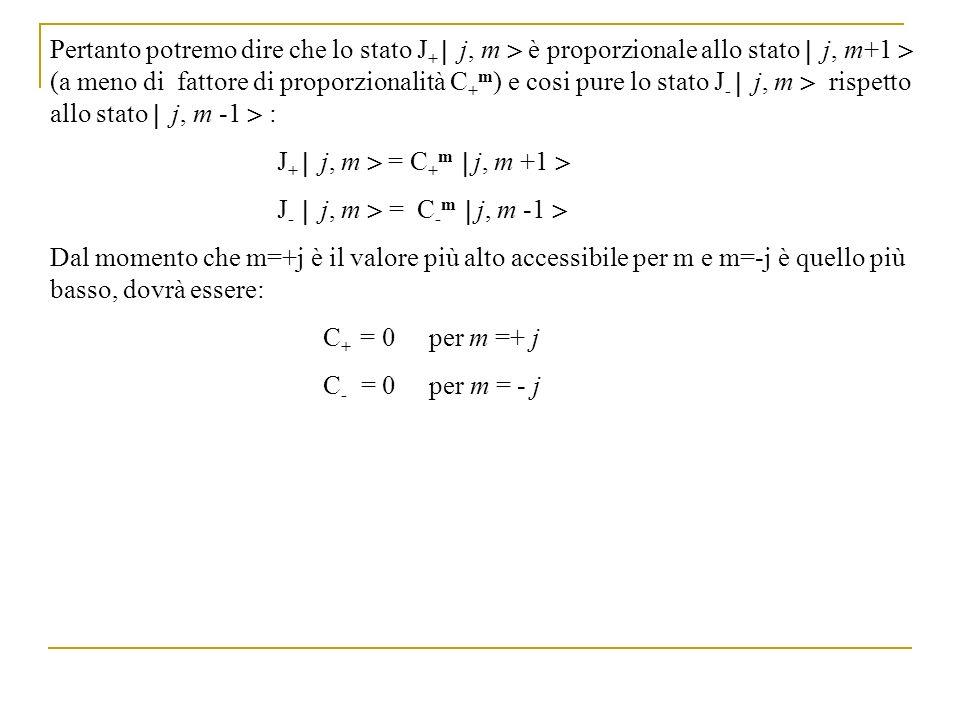Pertanto potremo dire che lo stato J+  j, m  è proporzionale allo stato  j, m+1  (a meno di fattore di proporzionalità C+m) e cosi pure lo stato J-  j, m  rispetto allo stato  j, m -1  :