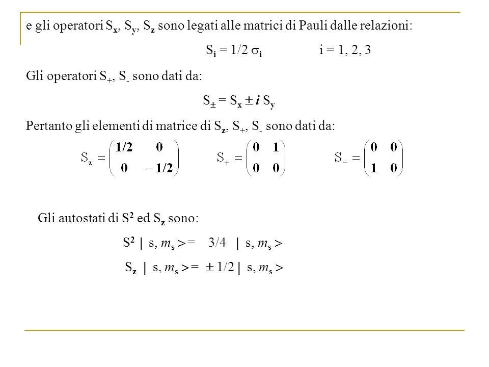 e gli operatori Sx, Sy, Sz sono legati alle matrici di Pauli dalle relazioni: