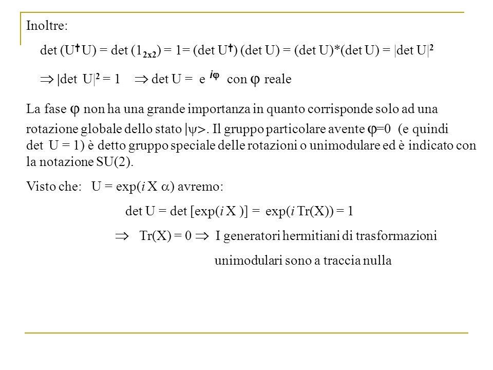 Inoltre: det (U† U) = det (12x2) = 1= (det U†) (det U) = (det U)*(det U) = |det U|2.  |det U|2 = 1  det U = e i con  reale.