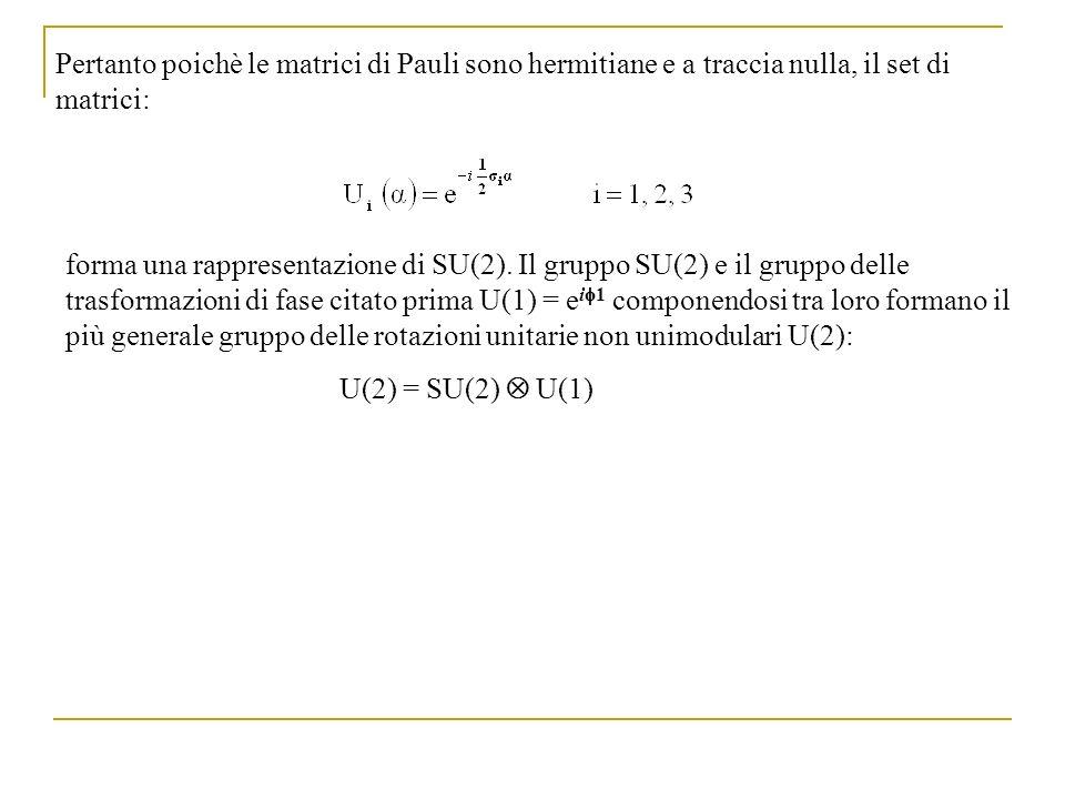 Pertanto poichè le matrici di Pauli sono hermitiane e a traccia nulla, il set di matrici: