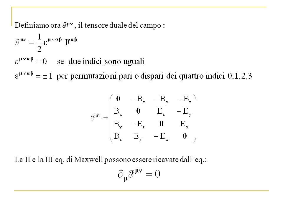 Definiamo ora Fmn , il tensore duale del campo :