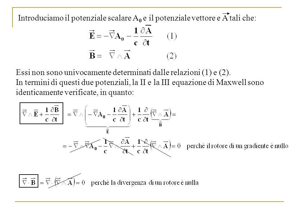 Introduciamo il potenziale scalare A0 e il potenziale vettore e A tali che: