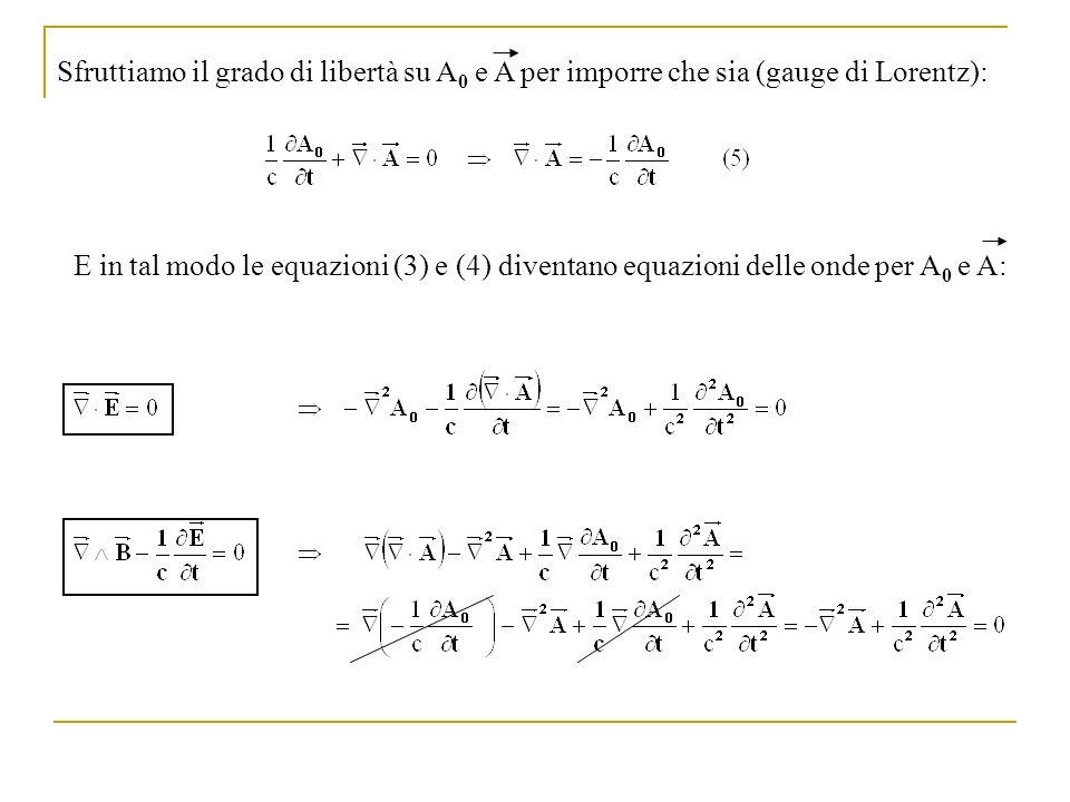Sfruttiamo il grado di libertà su A0 e A per imporre che sia (gauge di Lorentz):