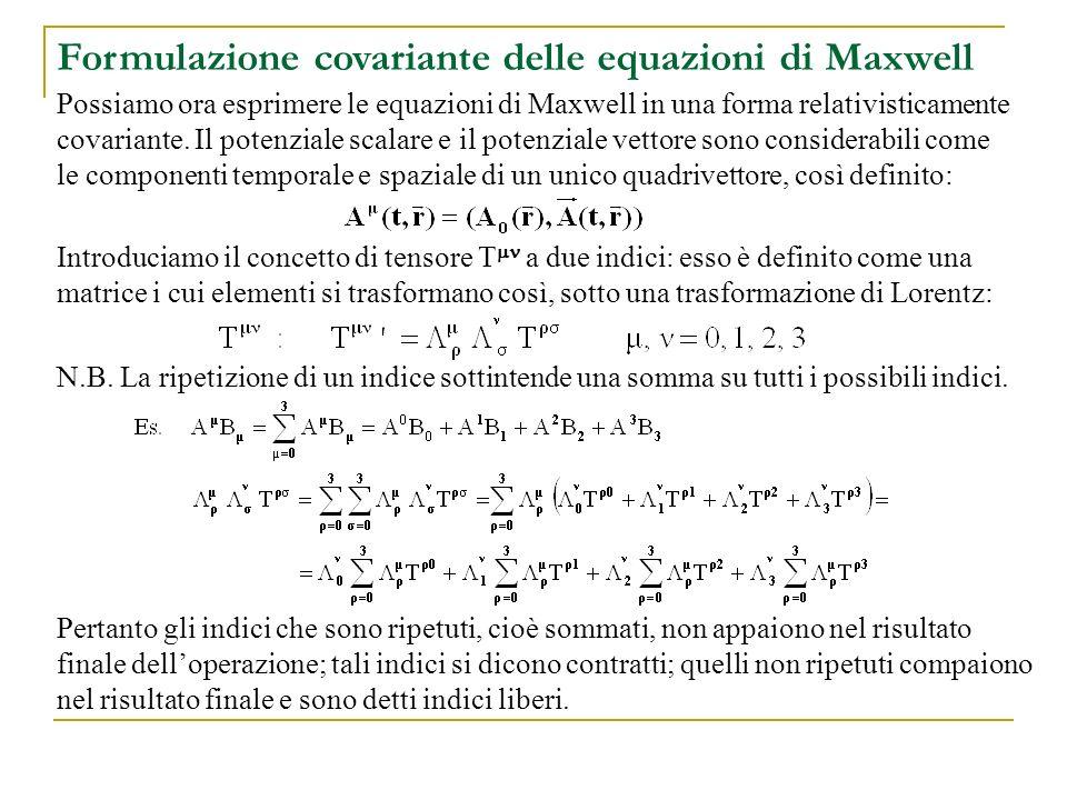 Formulazione covariante delle equazioni di Maxwell