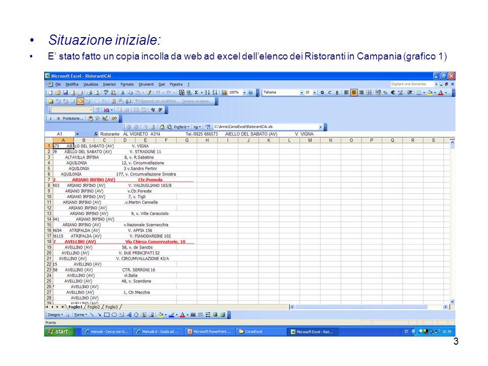 Situazione iniziale: E' stato fatto un copia incolla da web ad excel dell'elenco dei Ristoranti in Campania (grafico 1)