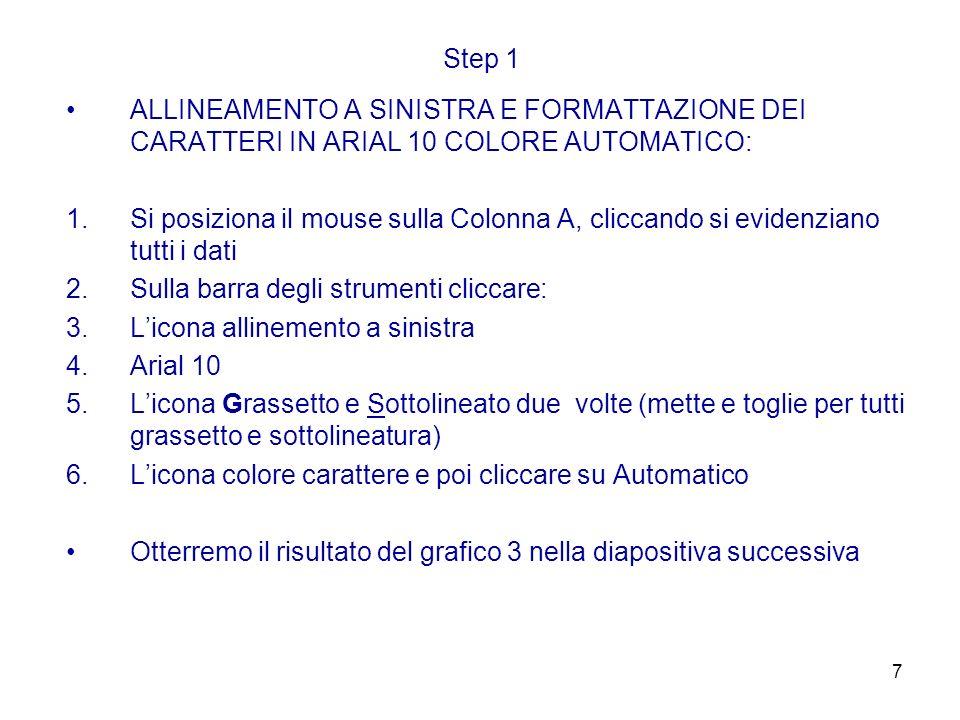 Step 1 ALLINEAMENTO A SINISTRA E FORMATTAZIONE DEI CARATTERI IN ARIAL 10 COLORE AUTOMATICO: