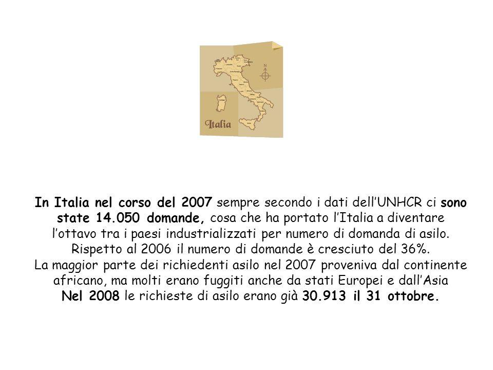 In Italia nel corso del 2007 sempre secondo i dati dell'UNHCR ci sono state 14.050 domande, cosa che ha portato l'Italia a diventare l'ottavo tra i paesi industrializzati per numero di domanda di asilo.