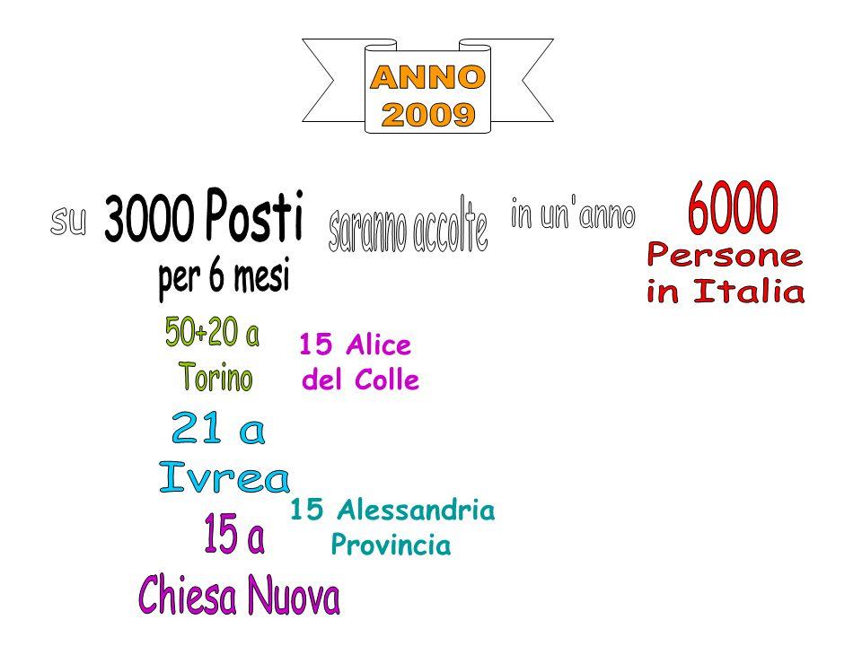 ANNO 2009 6000 Posti 3000 saranno accolte in un anno su Persone