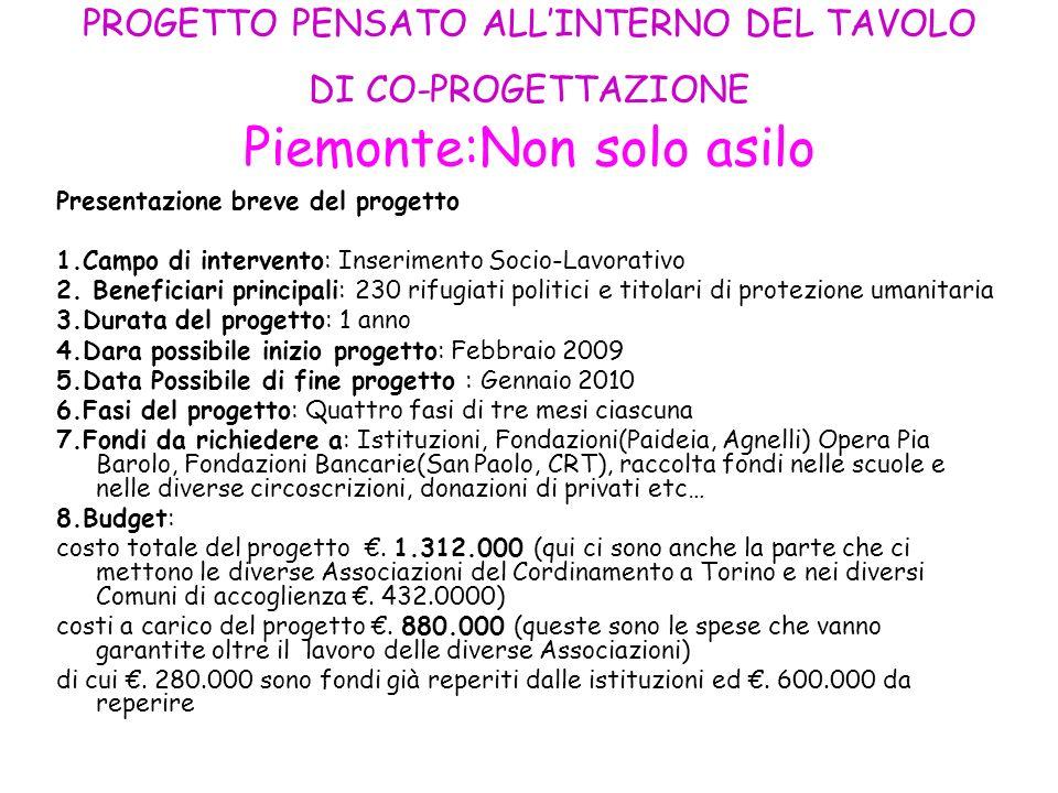 PROGETTO PENSATO ALL'INTERNO DEL TAVOLO DI CO-PROGETTAZIONE Piemonte:Non solo asilo