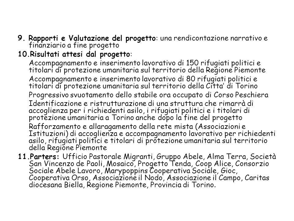 9. Rapporti e Valutazione del progetto: una rendicontazione narrativo e finanziario a fine progetto