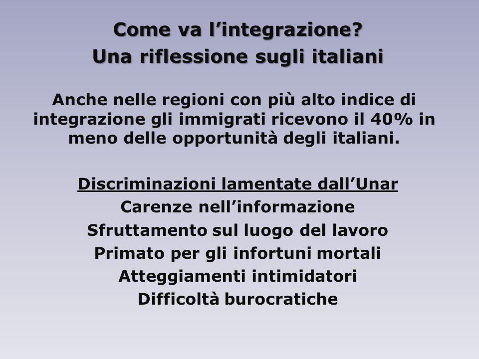 Come va l'integrazione Una riflessione sugli italiani