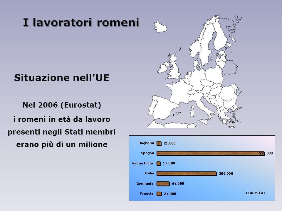 I lavoratori romeni Situazione nell'UE Nel 2006 (Eurostat)