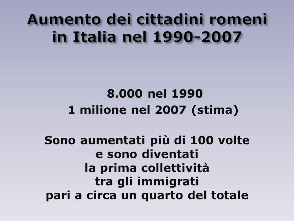 Aumento dei cittadini romeni in Italia nel 1990-2007