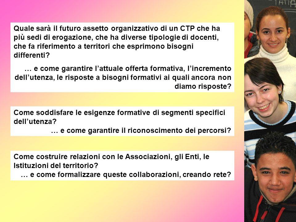 Quale sarà il futuro assetto organizzativo di un CTP che ha più sedi di erogazione, che ha diverse tipologie di docenti, che fa riferimento a territori che esprimono bisogni differenti