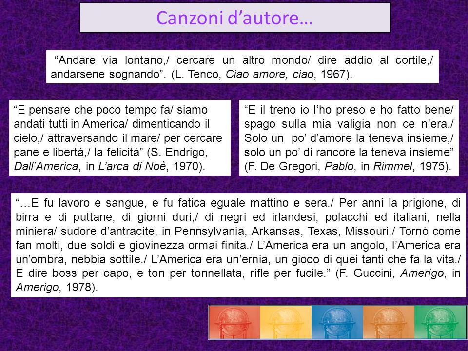 Canzoni d'autore… Andare via lontano,/ cercare un altro mondo/ dire addio al cortile,/ andarsene sognando . (L. Tenco, Ciao amore, ciao, 1967).