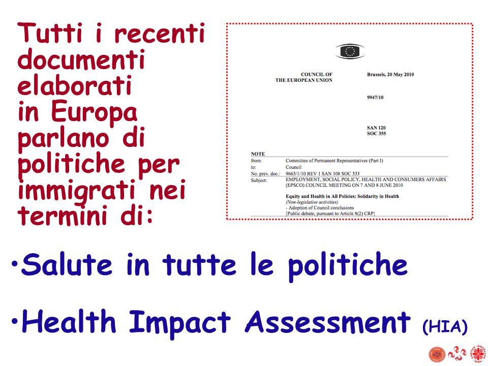 Salute in tutte le politiche Health Impact Assessment (HIA)