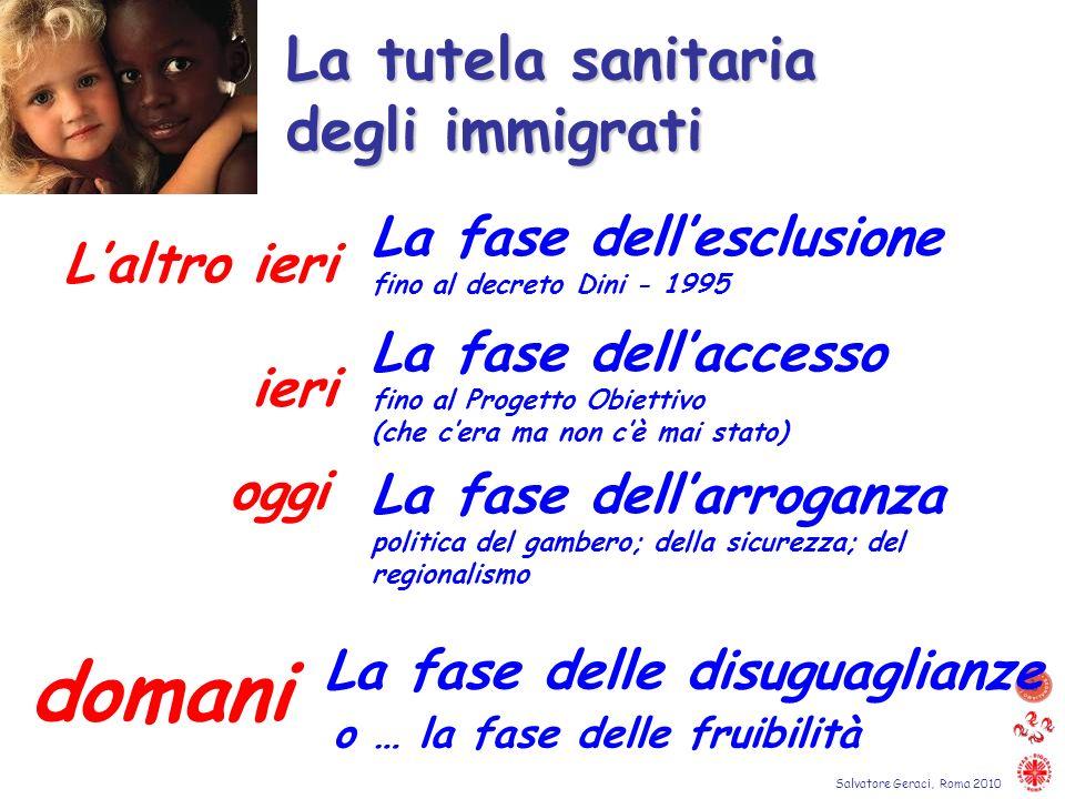 domani La tutela sanitaria degli immigrati La fase dell'esclusione