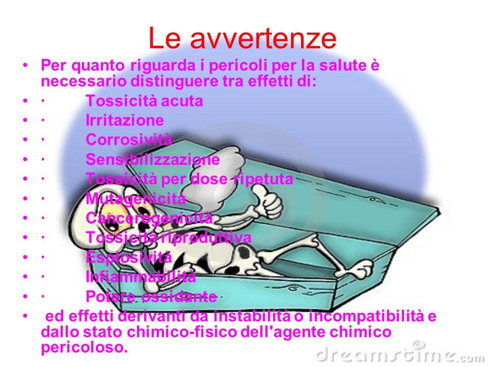Le avvertenzePer quanto riguarda i pericoli per la salute è necessario distinguere tra effetti di: · Tossicità acuta.