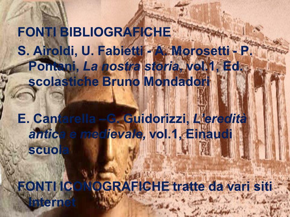 FONTI BIBLIOGRAFICHES. Airoldi, U. Fabietti - A. Morosetti - P. Pontani, La nostra storia, vol.1, Ed. scolastiche Bruno Mondadori.
