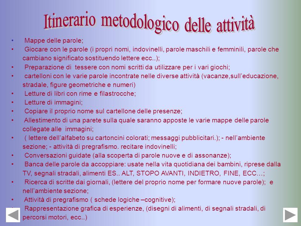 Itinerario metodologico delle attività