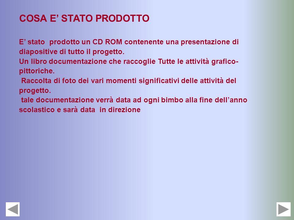COSA E' STATO PRODOTTO E' stato prodotto un CD ROM contenente una presentazione di diapositive di tutto il progetto.