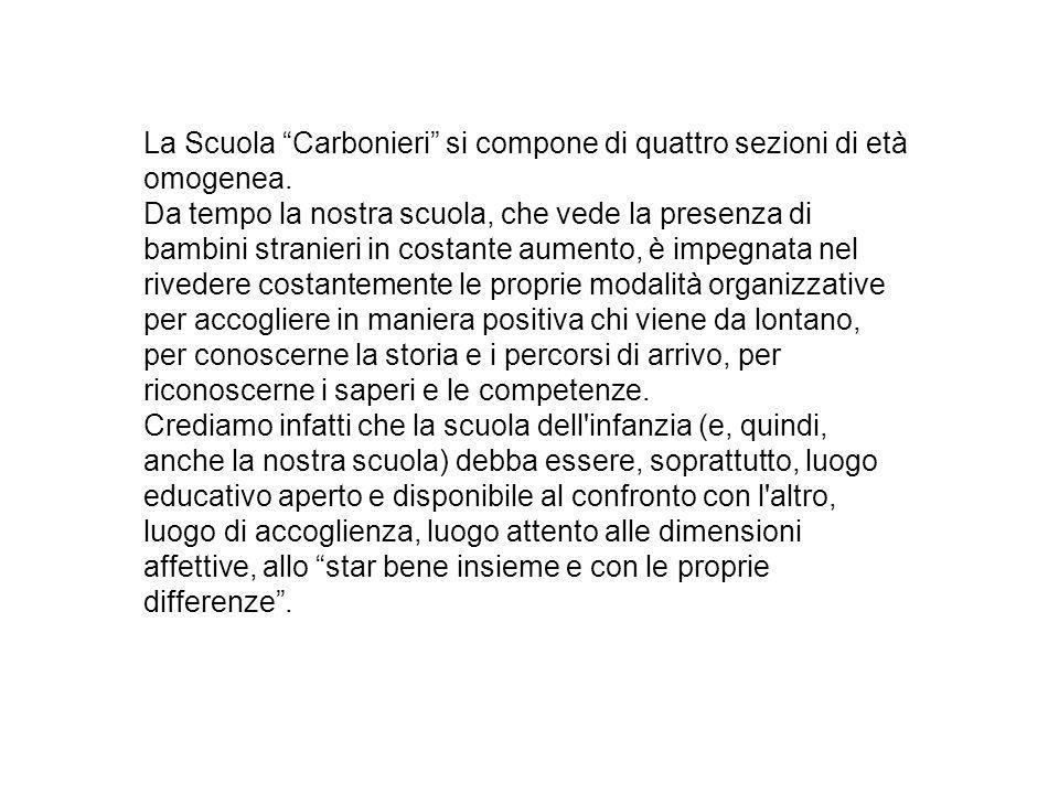 La Scuola Carbonieri si compone di quattro sezioni di età omogenea.