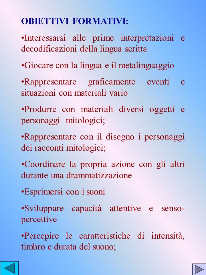 OBIETTIVI FORMATIVI:Interessarsi alle prime interpretazioni e decodificazioni della lingua scritta.