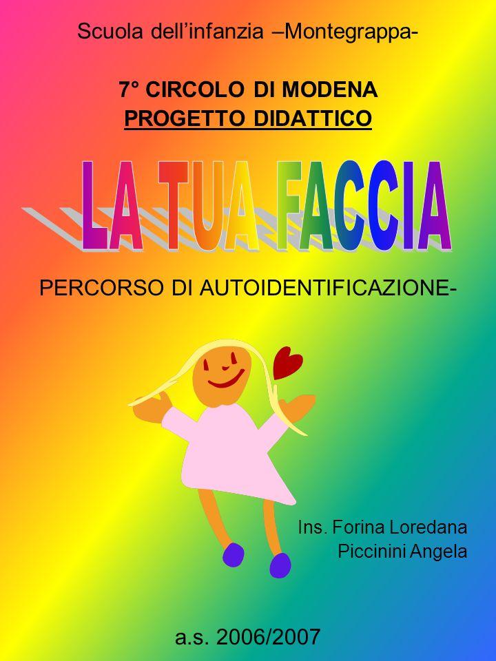 LA TUA FACCIA Scuola dell'infanzia –Montegrappa- 7° CIRCOLO DI MODENA