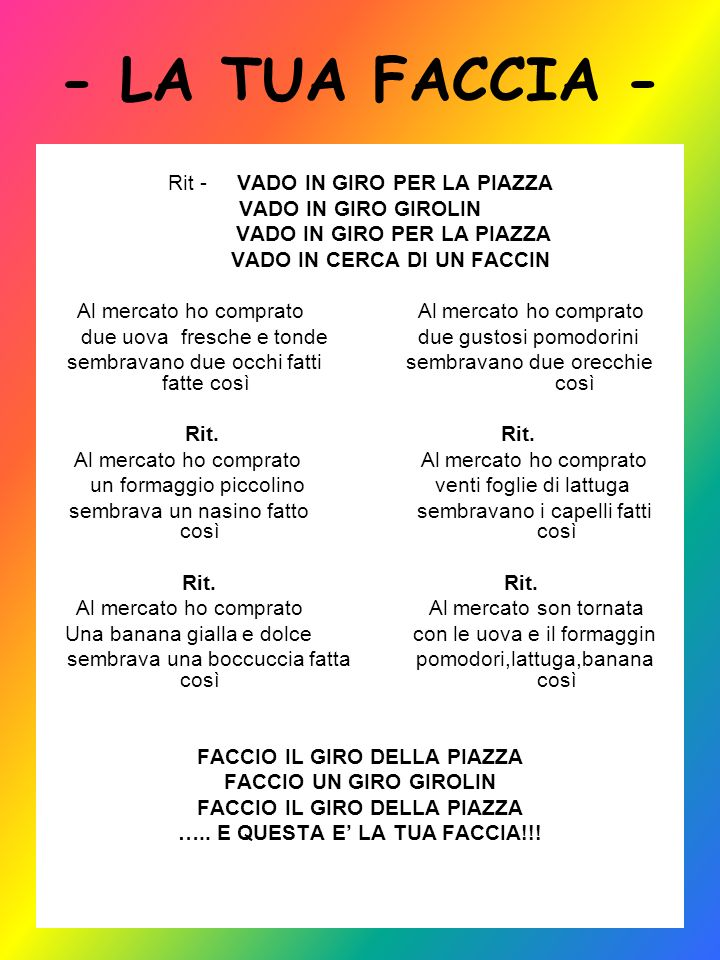 - LA TUA FACCIA - Rit - VADO IN GIRO PER LA PIAZZA