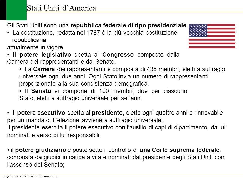 Stati Uniti d'America Gli Stati Uniti sono una repubblica federale di tipo presidenziale.
