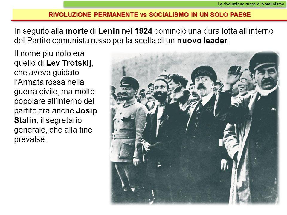 RIVOLUZIONE PERMANENTE vs SOCIALISMO IN UN SOLO PAESE