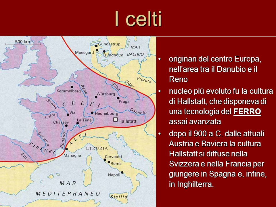 I celti originari del centro Europa, nell'area tra il Danubio e il Reno.