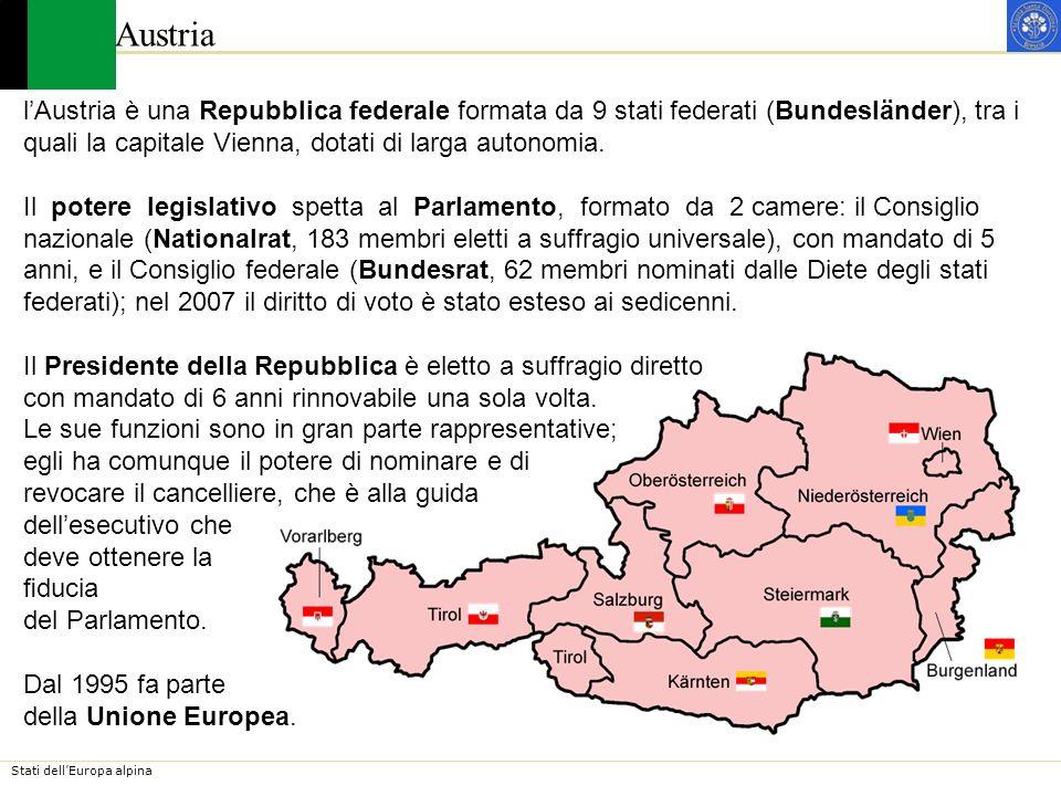 Austrial'Austria è una Repubblica federale formata da 9 stati federati (Bundesländer), tra i. quali la capitale Vienna, dotati di larga autonomia.
