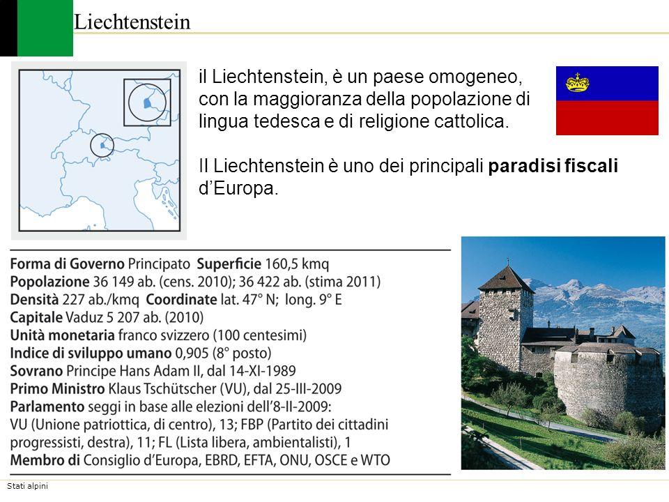 Liechtenstein il Liechtenstein, è un paese omogeneo, con la maggioranza della popolazione di lingua tedesca e di religione cattolica.