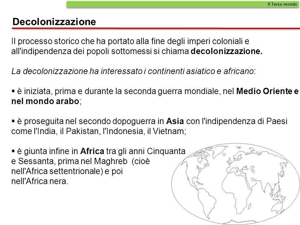 Il Terzo mondoDecolonizzazione. Il processo storico che ha portato alla fine degli imperi coloniali e.