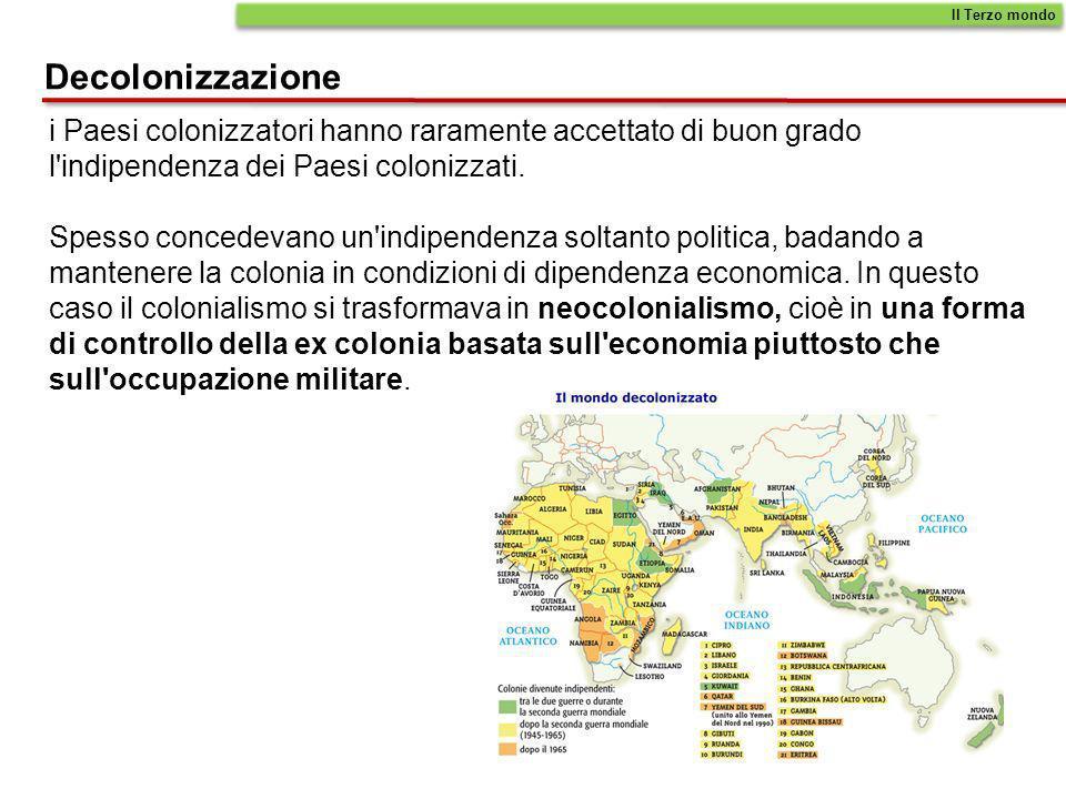 Il Terzo mondo Decolonizzazione. i Paesi colonizzatori hanno raramente accettato di buon grado l indipendenza dei Paesi colonizzati.