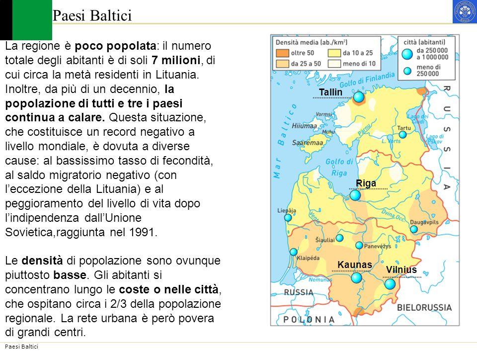 Paesi Baltici La regione è poco popolata: il numero totale degli abitanti è di soli 7 milioni, di.