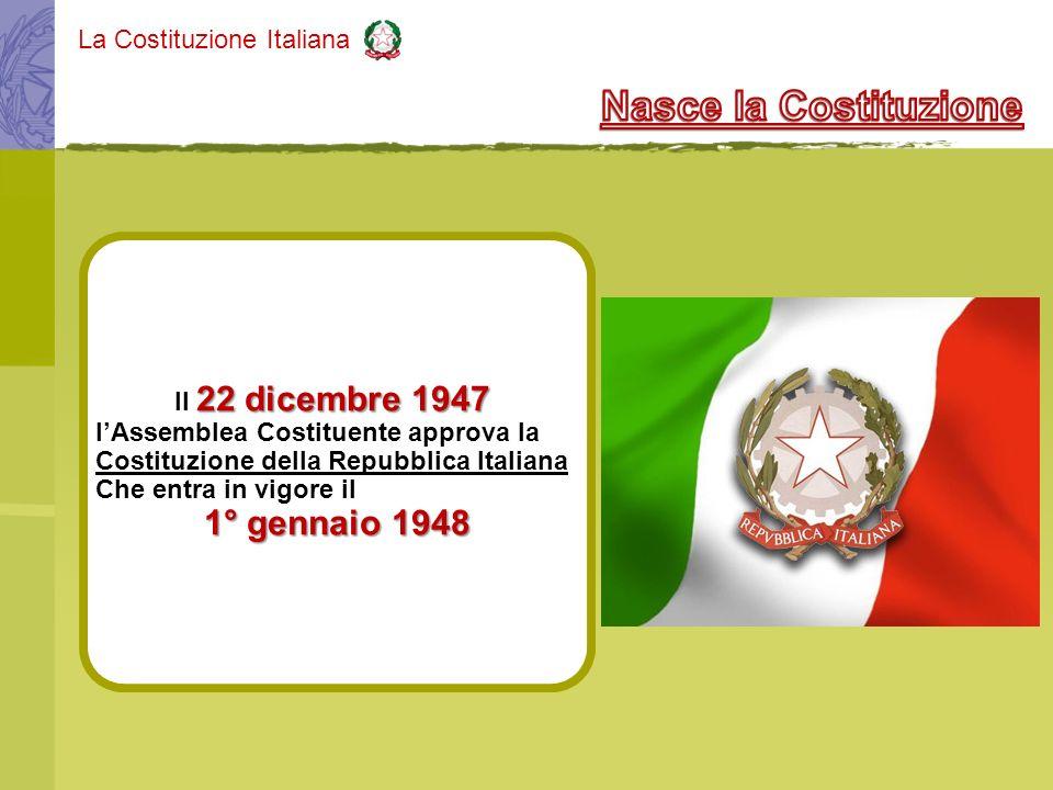 Nasce la Costituzione 1° gennaio 1948 Il 22 dicembre 1947