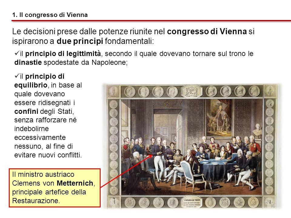 1. Il congresso di Vienna Le decisioni prese dalle potenze riunite nel congresso di Vienna si ispirarono a due principi fondamentali: