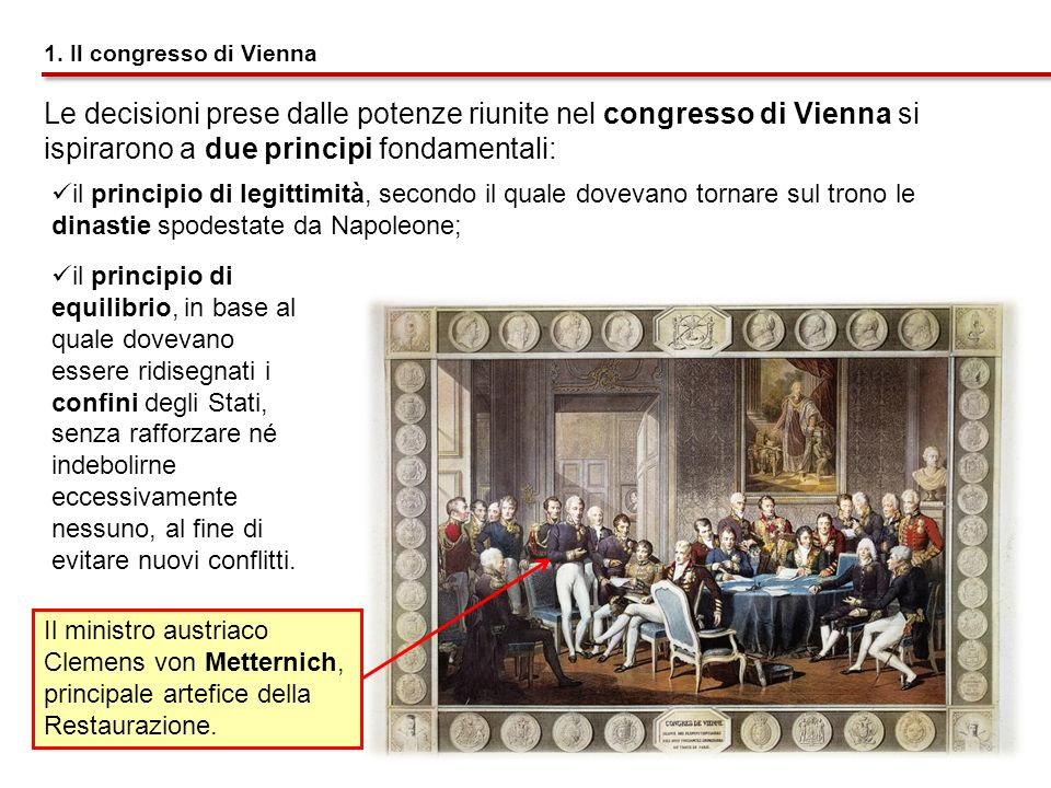 1. Il congresso di ViennaLe decisioni prese dalle potenze riunite nel congresso di Vienna si ispirarono a due principi fondamentali: