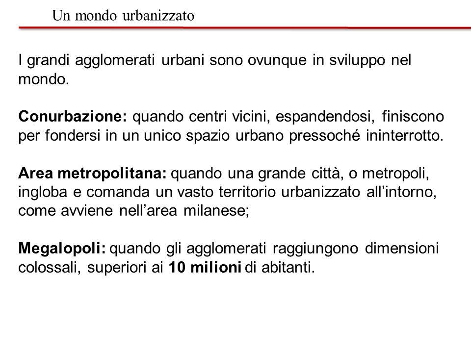 Un mondo urbanizzato I grandi agglomerati urbani sono ovunque in sviluppo nel mondo.