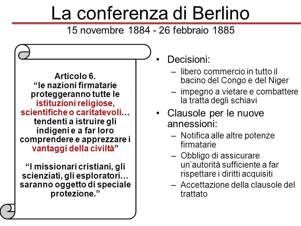 La conferenza di Berlino 15 novembre 1884 - 26 febbraio 1885