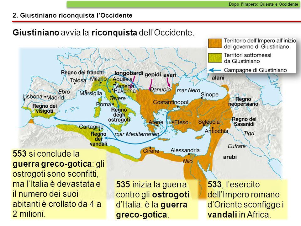 Giustiniano avvia la riconquista dell'Occidente.